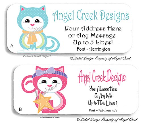 60 Polka Dot Kitties Cat Kitten Personalized Return Address Labels ()
