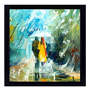 Sifty Collections 4 Piece Set of Framed Wall Hanging Love Beautiful Love Couple with Umbrella Art Framed Wall Painting Office Decor Art Prints 10 Inch X 10 Inch Without Glass