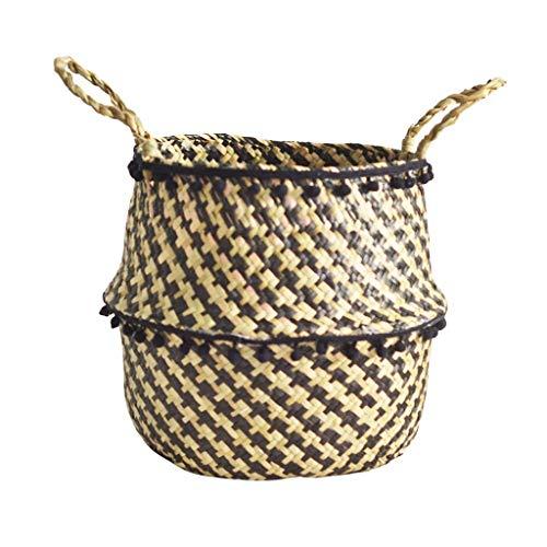 - Sacow Seagrass Wicker Basket, Flower Pot Folding Basket Dirty Basket Storage Decoration (B:27×24cm)