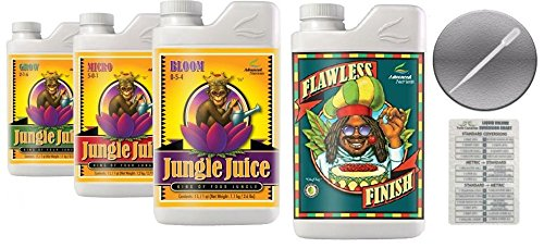 Advanced Nutrients Jungle Juice Bloom, Grow, Micro 4L & Flawless Finish 1L Bundle with Conversion Chart and 3mL (Jungle Finish)