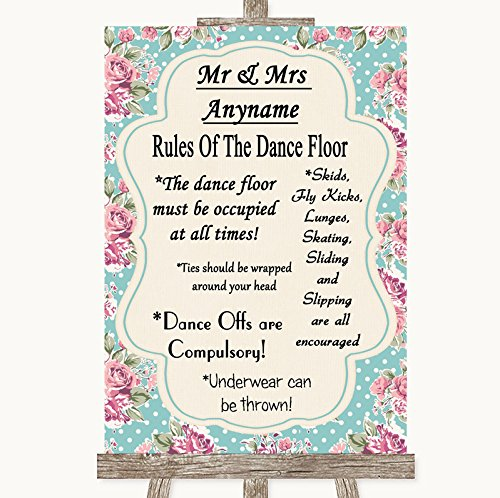 Vintage Shabby Chic Rose Rules Of The Dancefloor Personalized Wedding Sign