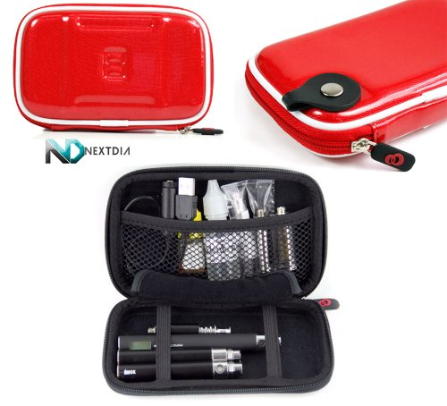 E-Cig Electronic Cigarette Vaporizer CASE Carrying Travel Semi-Hard Case + Carabiner Hook for Keys - Scarlet Red + NextDia ™ Velcro Cable Strap.