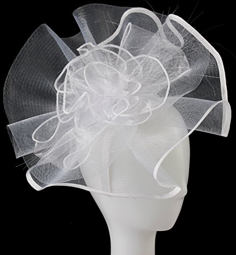 Myjoyday Fascinator Hats Big Mesh Flower Headband Tea Party Headwear for Girls and Women (White) by Myjoyday (Image #4)