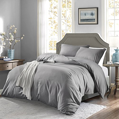 OAITE Duvet Cover,Protects and Covers your Comforter/Duvet Insert,Luxury 100% Super Soft Microfiber,Queen Size,Color Silver Gray,3 Piece Duvet Cover Set Includes 2 Pillow Shams