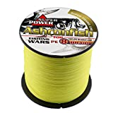 Ashconfish Braided Fishing Line-8 Strands Super Strong PE Fishing Wire 500M/546Yards Multifilament Fishing String Ultra Power Heavy Tensile for Saltwater & Freshwater 200LB Yellow