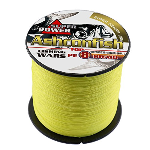 - Ashconfish Braided Fishing Line-8 Strands Super Strong Fishing Wire 500M/546Yards 130LB-Abrasion Resistant Braided Lines-Incredible Superline-Zero Stretch-Superfine Diameter-Yellow
