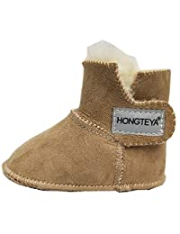 HONGTEYA Sheepskin Baby Bootie -100% Pure Australian Sheepskin Baby Girl's Boys Winter Boots (Infant)