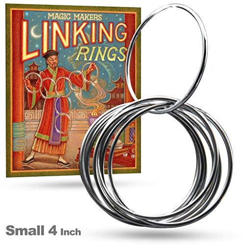 Magic Makers Linking Rings Small 4 Inch Set of 8 Rings with DVD