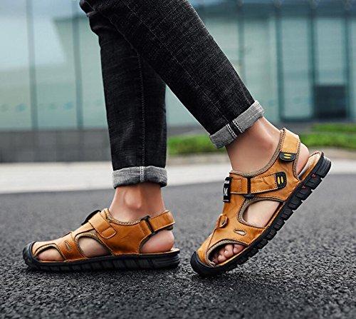 Koyi Neue Herren Sandalen Sandalen Leder Strand Schuhe Casual Sandalen Sandalen und Hausschuhe Yellow 82d530
