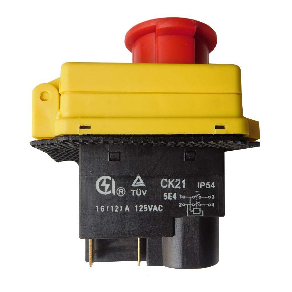2-Pack CK21 4 Pins Waterproof Electromagnetic Push Button Switch Power Tool Emergency Stop Switch With Overload Protection Suitable for Industrial Electric Tools Cutting Machines.125V 16(12)A. (CK21)