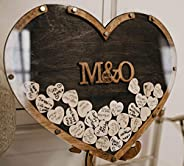Rustic Wedding Guest Book, Heart Drop Guest Book, Personalized Wedding Guest Book Alternative, Heart Frame Wed
