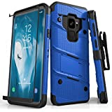 Zizo Bolt Series Compatible with Samsung Galaxy S9 Case Military Grade Drop Tested with Tempered Glass Screen Protector Holster Blue Black