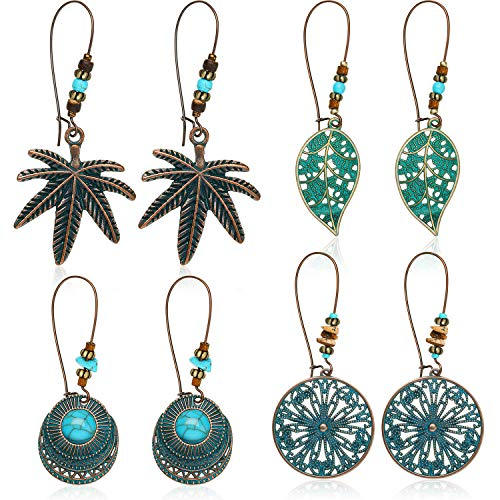 4 Pairs Bohemian Vintage Dangle Earrings Retro Rhinestone Earrings Boho Dangle Drop Earrings for Women Girls (Style - Earrings Jewelry Stud Dangle