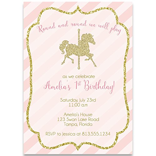 Birthday Party Invitation, Carousel Birthday, Pink, Gold, Glitter Design, Stripes, Horses, Set of 10 Custom Printed Invites with Envelopes