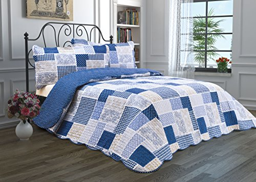 3 Piece Quilt Set with Shams Reversible Bedspread Matelasse Bedcover Double-Sided Bedding Coverlet Lightweight Comforter Oversized Linen Looking Luxurious Bed Cover (Patchwork-King)