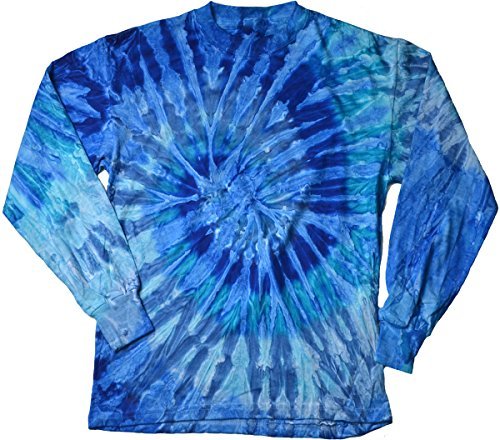 - Colortone-Gildan Tie Dye T-Shirts Long Sleeve Multicolor Adult 100% Pre-Shrunk Cotton (Blue Turquoise Swirl, X-Large)