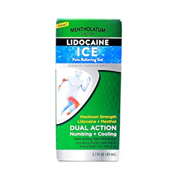 Mentholatum 4% Lidocaine Ice Pain Relieving Gel, 2 7 Ounce (Pack of 1)