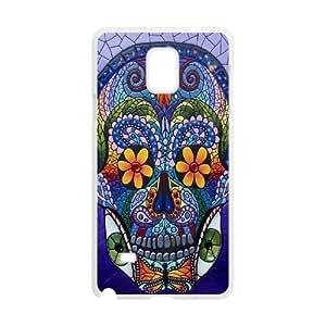 Diy Aztec Sugar Skull Phone Case for samsung galaxy note 4 White Shell Phone JFLIFE(TM) [Pattern-3]