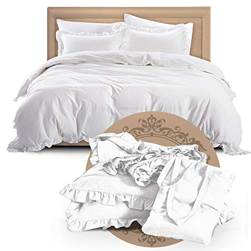 Mivedia Collection Ruffled Duvet Cover Set with Pillow Shams | 100% Cotton Farmhouse & Bohemian Style Bedding | Lightweight & Soft (California King, White)
