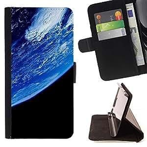 Momo Phone Case / Flip Funda de Cuero Case Cover - Azul Planeta Tierra Primer Ver espacio Ambiente - Motorola Moto E ( 2nd Generation )