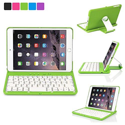 iPad Mini Keyboard Case, iNNEXT iPad mini 3, iPad Mini 2, iPad Mini 1 Case, 360 Degree Rotating Multi-Angle Stand Smart Cover with Auto Wake/Sleep Feature (Green)