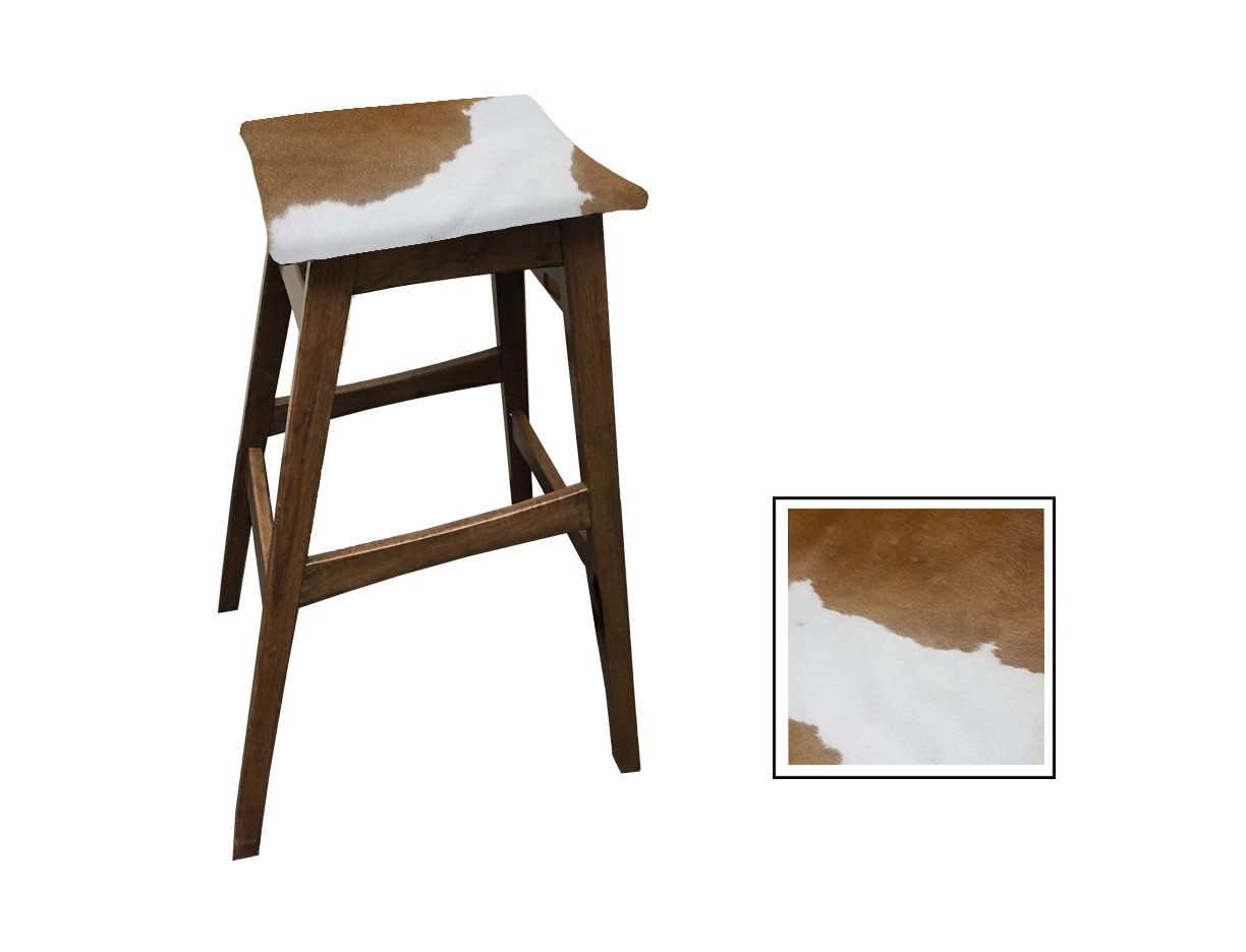 "29"" Tall Modern Angled Solid Wood Comfy Bar/Game Room/Kitchen Bar Stool with an Authentic Light Brown and White Cowhide Covered Cushion"