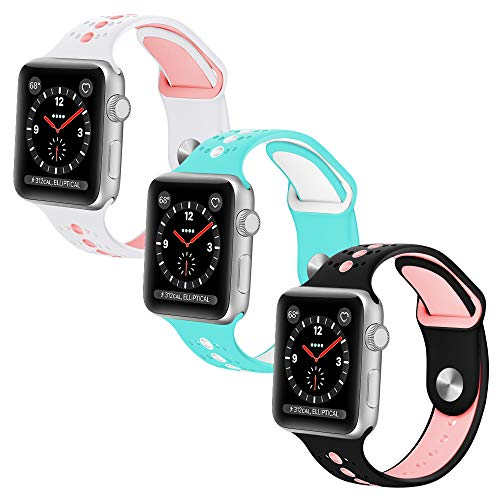 KOLEK Compatible with Apple Watch Bands, Accessories Classic Band Compatible with Apple Watch Series 1/2 / 3 38mm, 3 Pack by KOLEK