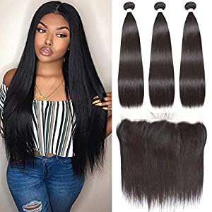 Beauhair Brazilian Straight Hair 3 Bundles With Frontal Closure(20 22 24+18Frontal) 13×4 Ear to Ear Lace Frontal Closure…