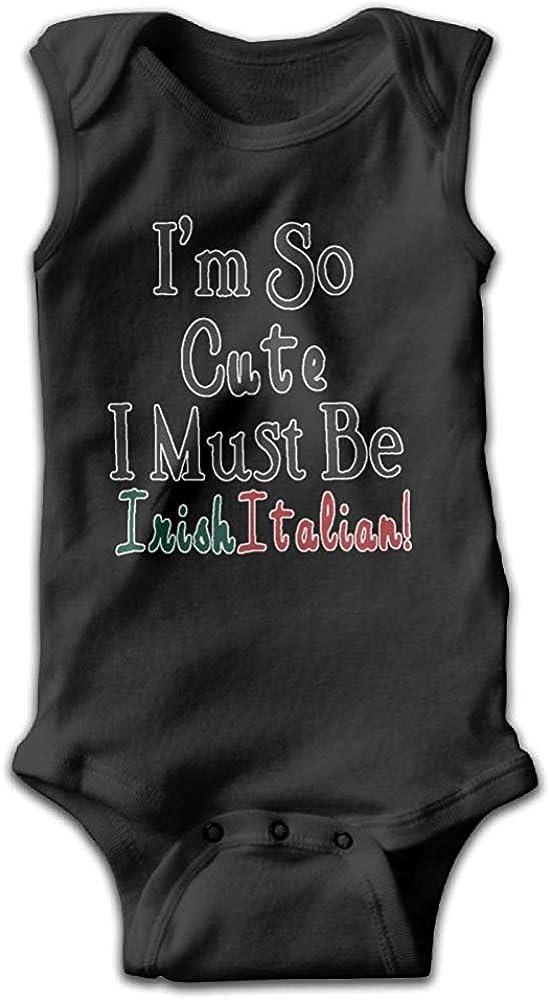 GongYe Cute Irish Italian Unisex Baby Funny Bodysuit Sleeveless Creeper Clothes Black