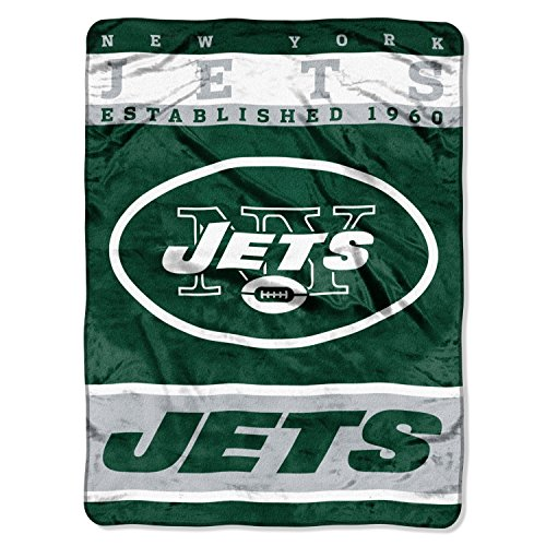 "The Northwest Company Officially Licensed NFL York Jets 12th Man Plush Raschel Throw Blanket, 60"" x 80"""