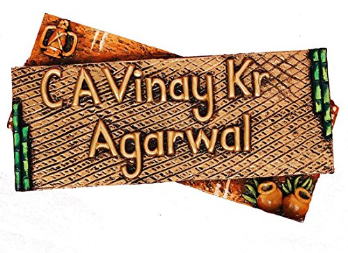 Craftedindia Handcrafted Wooden Name Plate for Door by CraftedIndia