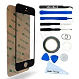 IPHONE 5 5C 5S SE Black Display Touchscreen replacement kit 12 pieces incl tools / pre cut Sticker / Tweezers / Roll of 2mm adhesive tape / cleaning cloth / suction cup / wire MMOBIEL