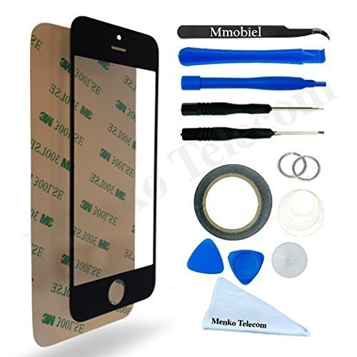 iPhone 5 5C 5S SE Black Display Touchscreen replacement kit 12 pieces incl tools / pre cut Sticker / cleaning cloth / suction cup / wire MMOBIEL