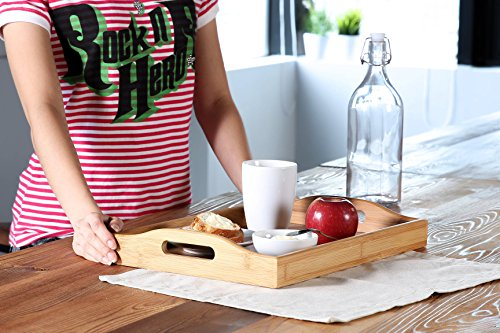 Wood Food Serving Tray with Double Handles - For Breakfast in Bed, Party Service, and More - Brown / Tan - 16 x 11 x 2.3 Inches