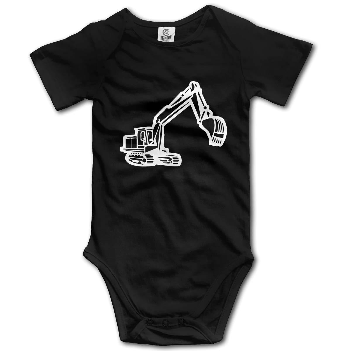 Digger Silhouette Baby Boys Or Girls Short Sleeve Romper Bodysuit Tops 0-2T