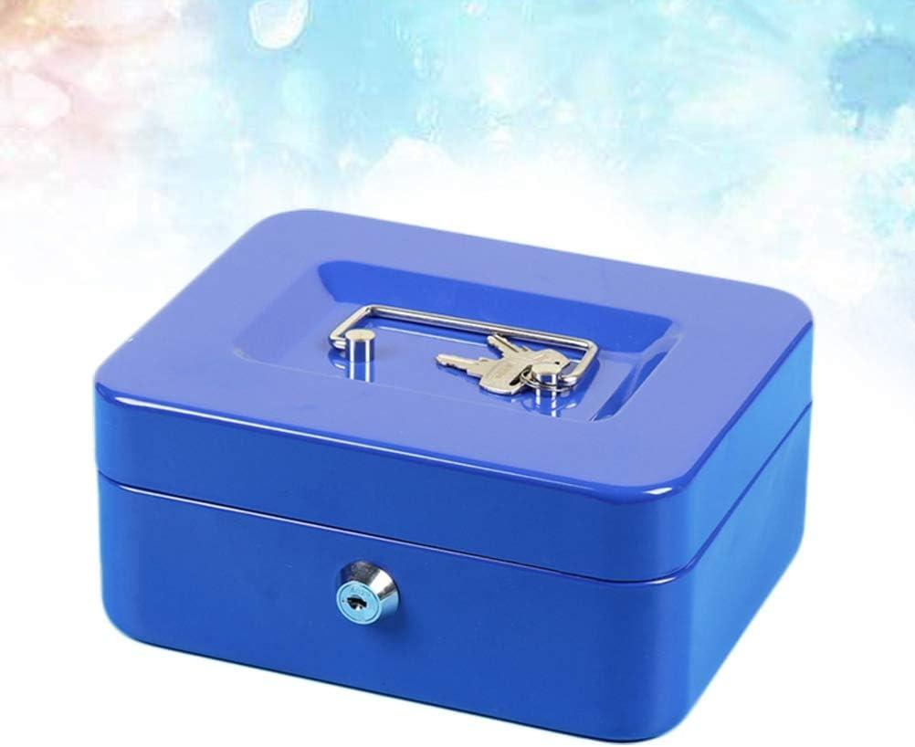 Blaue Schl/üssel BESPORTBLE Gro/ße verdickte Geldkassette mit Schloss und beweglichem Steckplatz Metallgeldbox mit Doppelschicht