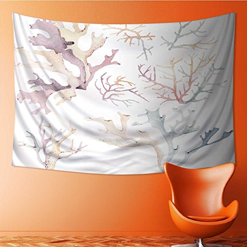 SOCOMIMI Wall Tapestry Flower Tapestry Floral Words Tapestry Wall Hanging watercolor set of underwater life objects there are sea Tapestry Wall Decor Quote Tapestry(36W x 24L INCH)