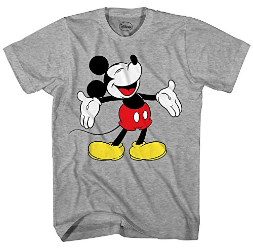 Laughing Man T-shirt (Disney Mickey Mouse Laughing Disneyland World Funny Humor Pun Mens Adult Graphic Tee T-Shirt (Heather Grey, X-Large))