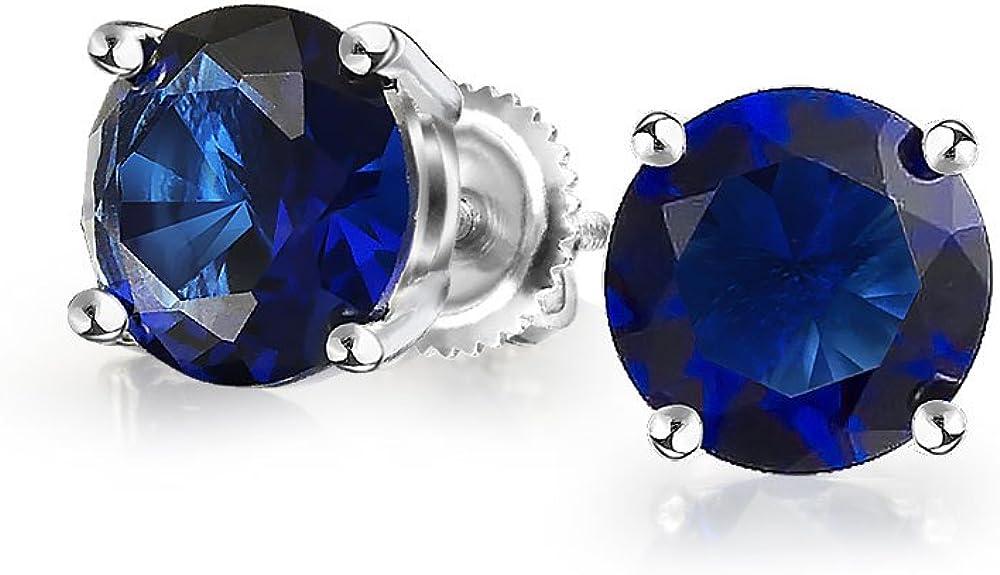 1Ct Zirconio Cúbico Redonda Azul Brillante CZ Solitario Pendiente De Boton Plata De Ley 925 Screwback Zafiro Simulada