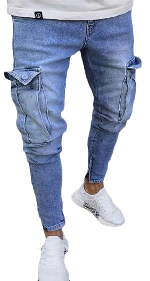 pujingge Mens Ripped Holes Destroyed Skinny Straight Fit Denim Jeans