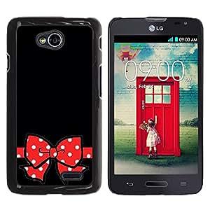 Caucho caso de Shell duro de la cubierta de accesorios de protección BY RAYDREAMMM - LG Optimus L70 / LS620 / D325 / MS323 - Black Polka Dot Red Bow Gift