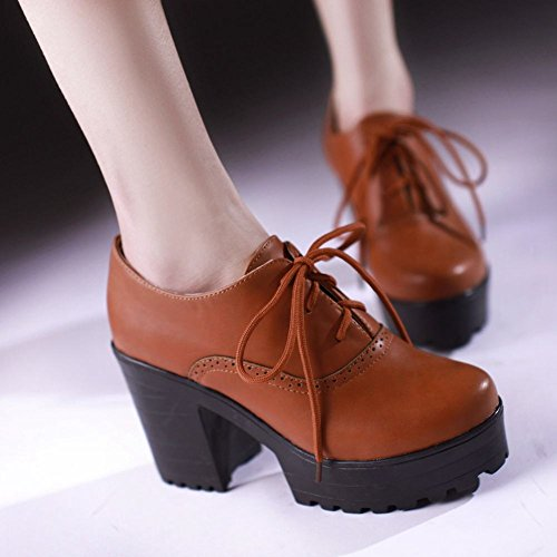 Charm Foot Womens Fashion Chunky Lace Up Platform High Heel Ankle Boots Yellow&brown hYxLvgEKSN