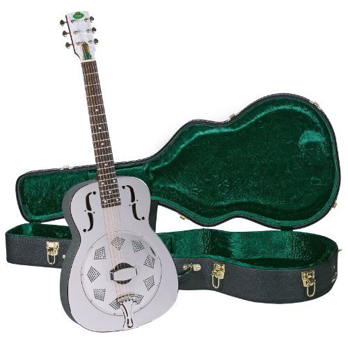 Biscuit Cone Resonator Guitar - Regal RC-2 Metal Body Duolian Guitar - Nickel-Plated Brass - with Deluxe Hardshell Case