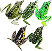 Frog Lure Soft Floating Weedless Baits with Hooks Fishing Tackles for Bass Pike Salmon Mixed Colors 5pcs