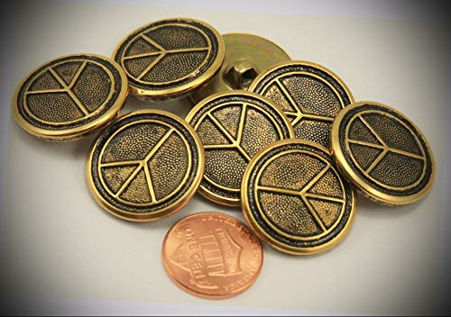 (JumpingLight 8 Brass Tone Black Accent Puffed Peace Sign Metal Buttons 7/8'' 23MM 6257 Perfect for Crafts, Scrap-Booking, Jewelry, Projects, Quilts)