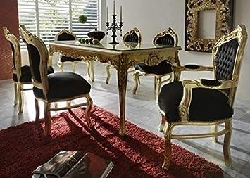 Casa Padrino Barock Esszimmer Set Schwarz/Gold - Esstisch + 6 Stühle ...