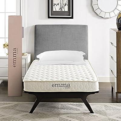 """Modway Emma 6"""" Twin Foam Mattress - Firm Mattress For Guest Or Kid Room - 10-Year Warranty"""