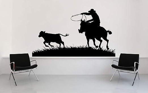 Amazon Com Cowboy Decor Horse Roping Calf Grass Cowboy Wall Art Vinyl Decal West Western Range Sticker Home Office Ranch Rodeo Decor Made In Usa Home Kitchen