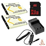 Two Halcyon 1200 mAH Lithium Ion Replacement Battery and Charger Kit + 32GB SDHC Class 10 Memory Card for Sony Cyber-shot DSC-W610 14.1 MP Digital Camera and Sony NP-BN1 by Halcyon