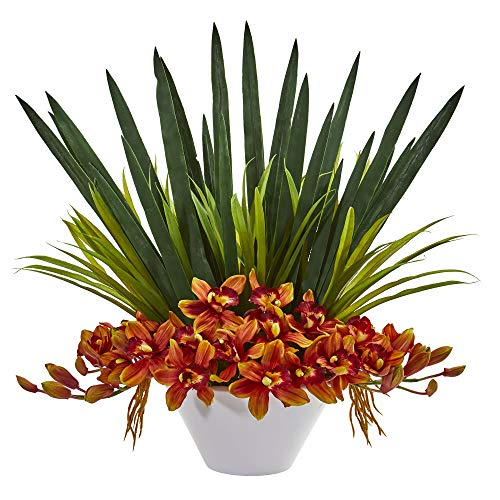 - Nearly Natural 1705-BG Cymbidium Orchid Artificial White Bowl Silk Arrangements, Burgundy